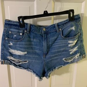 american eagle high rise distressed jean shorts